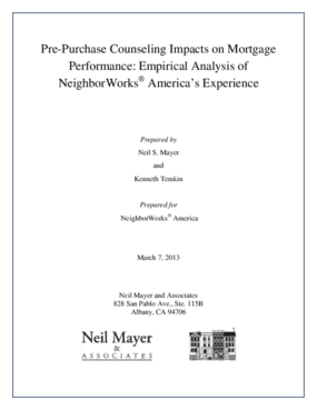 Pre-Purchase Counseling Impacts on Mortgage Performance: Empirical Analysis of NeighborWorks America's Experience