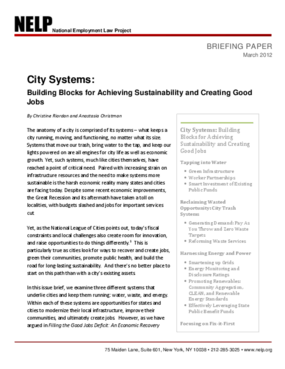 City Systems: Building Blocks for Achieving Sustainability and Creating Good Jobs