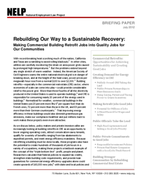 Rebuilding Our Way to a Sustainable Recovery: Making Commercial Building Retrofit Jobs into Quality Jobs for Our Communities
