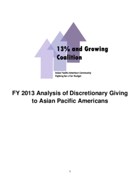 FY 2013 Analysis of Discretionary Giving to Asian Pacific Americans