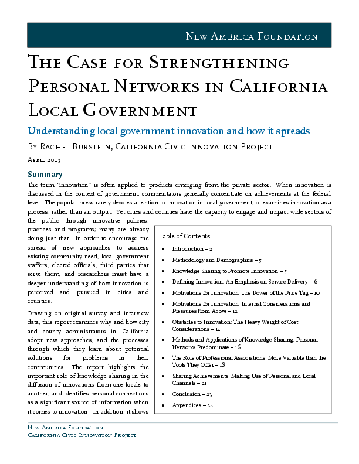 The Case for Strengthening Personal Networks in CA Local Government