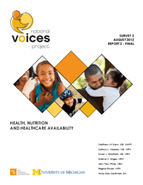 National Voices Project: Health, Nutrition and Healthcare Availability - Survey 2