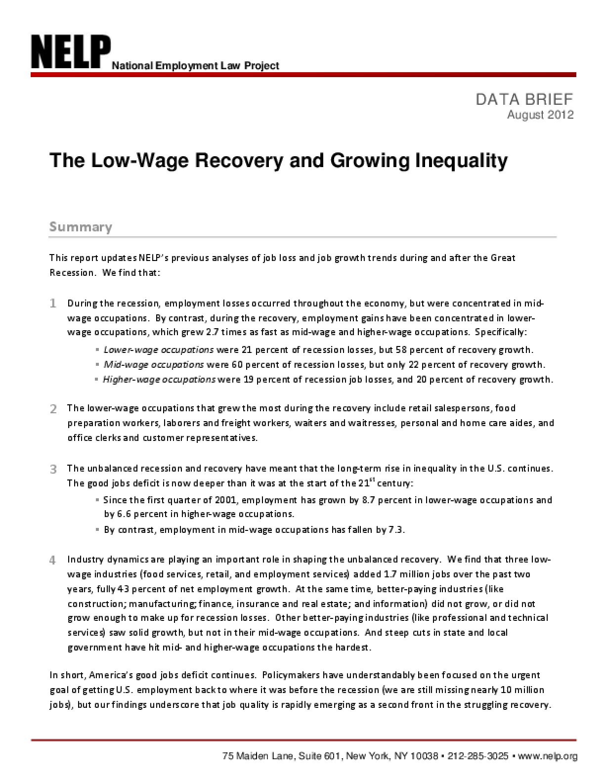The Low-Wage Recovery and Growing Inequality