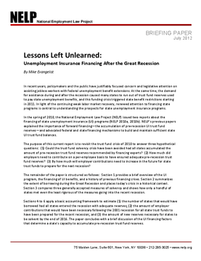 Lessons Left Unlearned: Unemployment Insurance Financing After the Great Recession