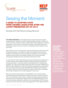 Seizing the Moment: Guide to Adopting State Work-Sharing Legislation After Layoff Prevention Act of 2012