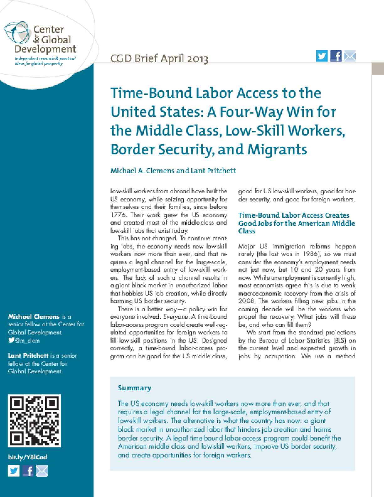 Time-Bound Labor Access to the United States: A Four-Way Win for the Middle Class, Low-Skill Workers, Border Security, and Migrants