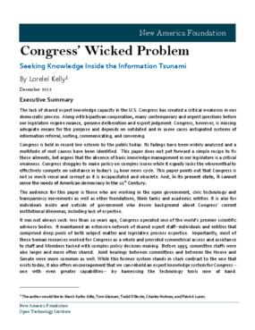 Congress' Wicked Problem: Seeking Knowledge Inside the Information Tsunami