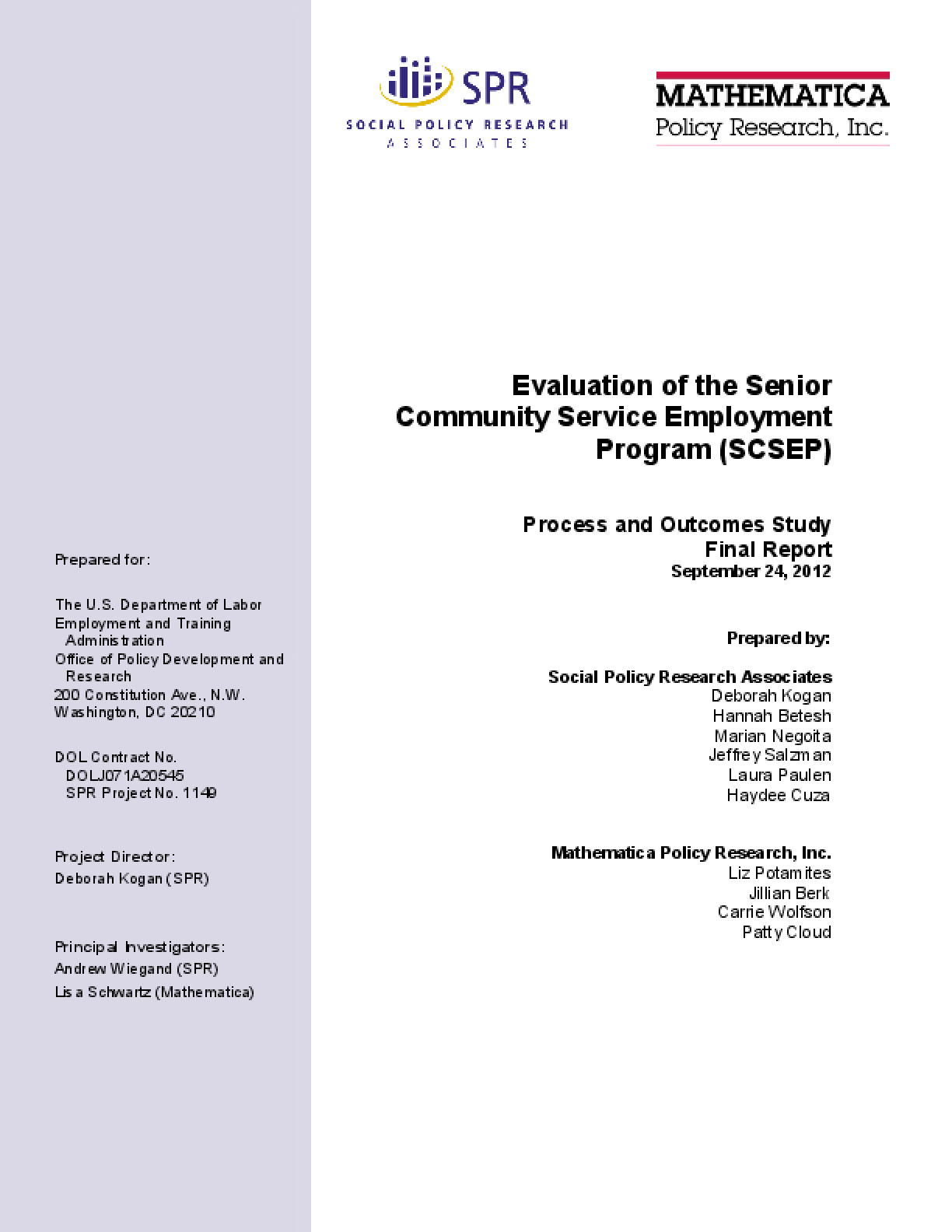 Evaluation of the Senior Community Service Employment Program (SCSEP)