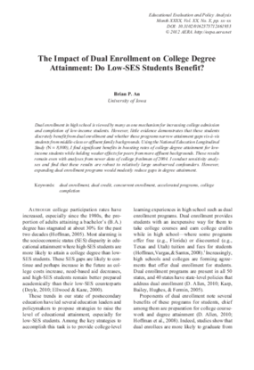 The Impact of Dual Enrollment on College Degree Attainment: Do Low-SES Students Benefit?