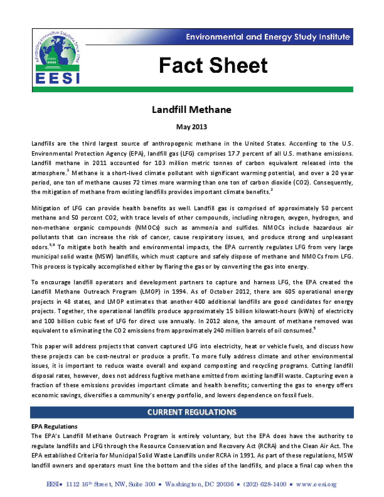 Fact Sheet: Methane and Landfill Gas