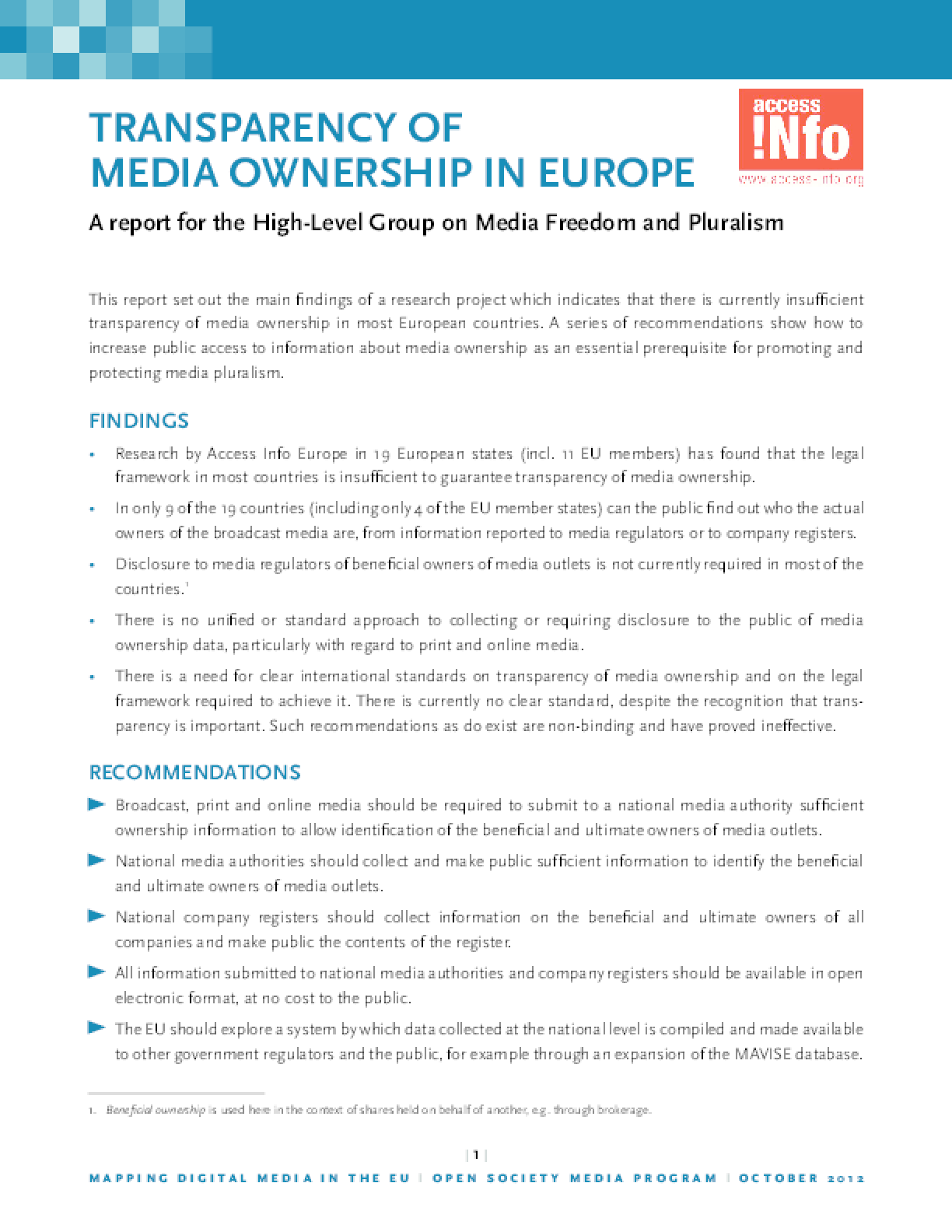 Transparency of Media Ownership in Europe