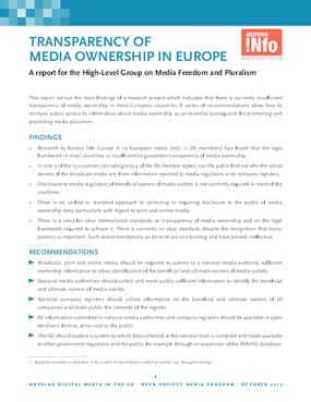 Transparency of Media Ownership in Europe