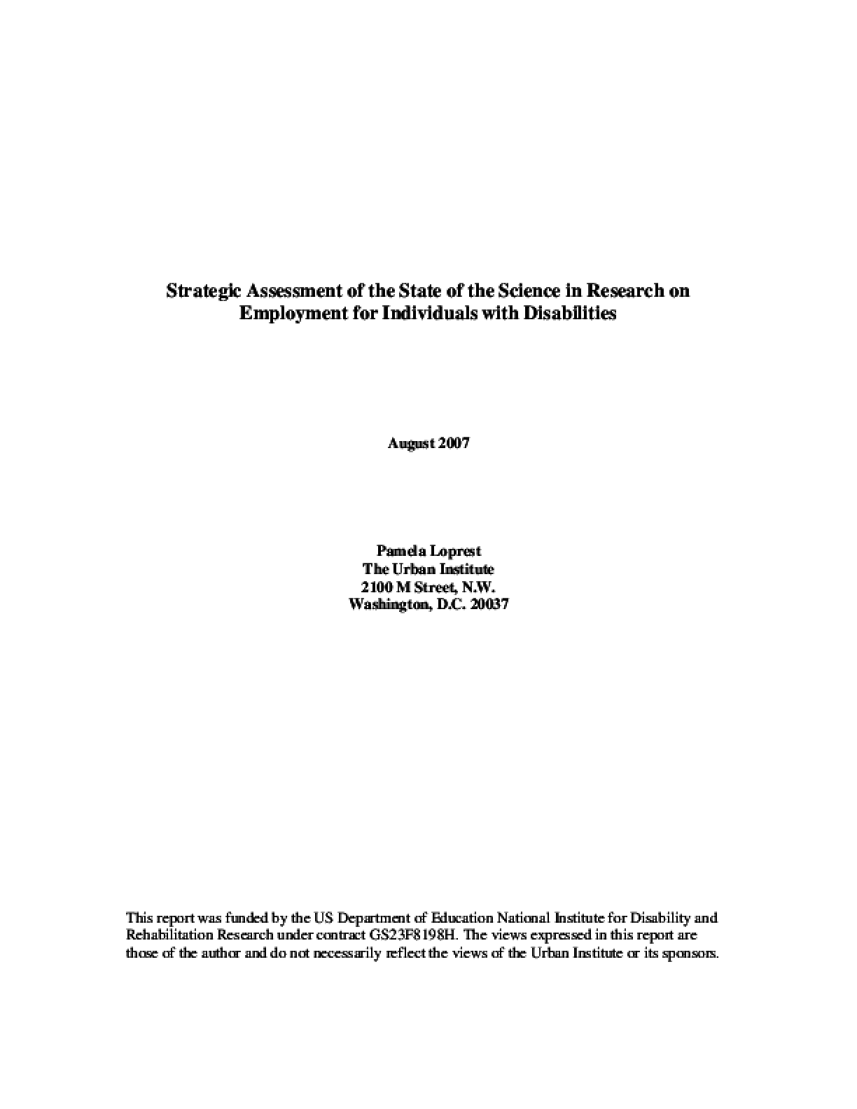 Strategic Assessment of the State of the Science in Research on Employment for Individuals with Disabilities