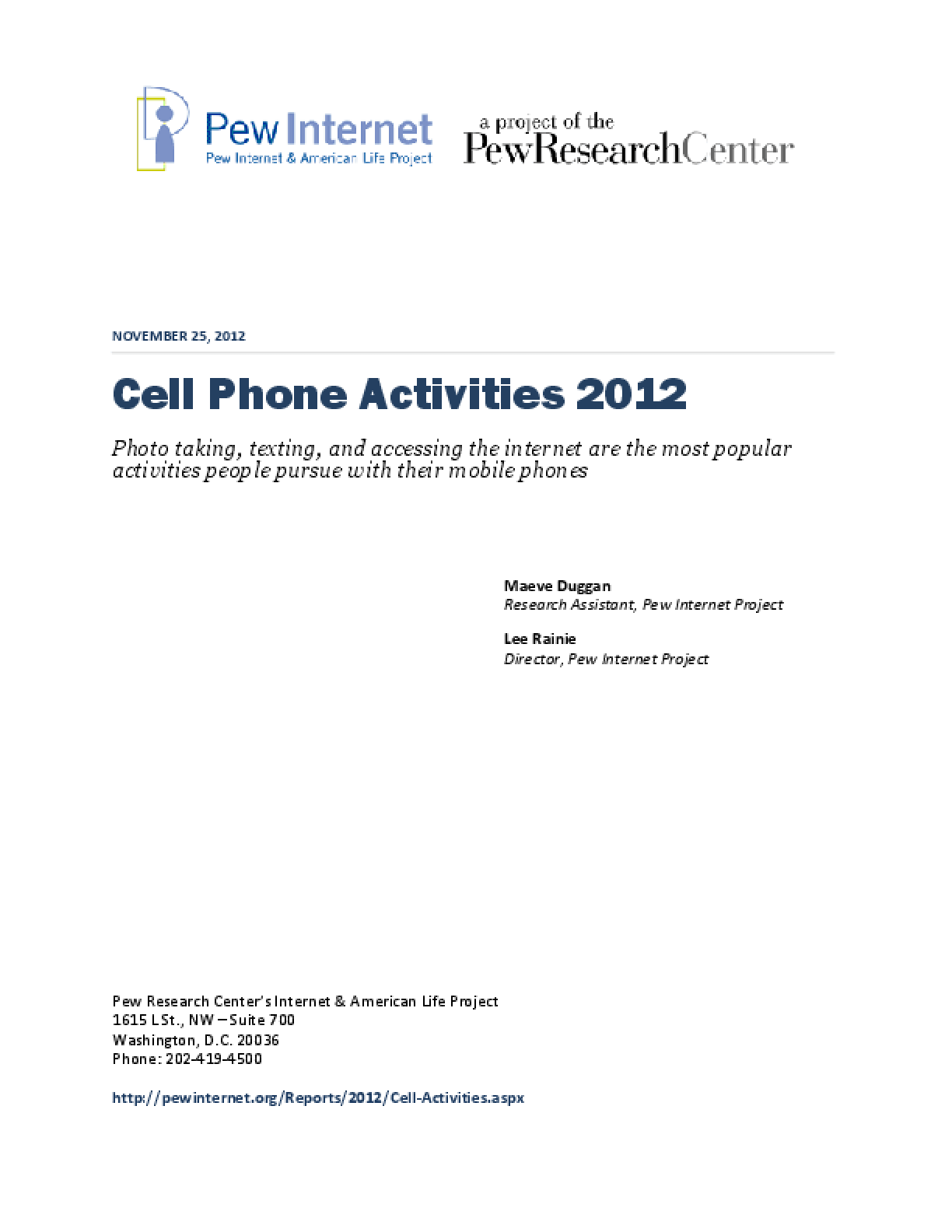 Cell Phone Activities 2012