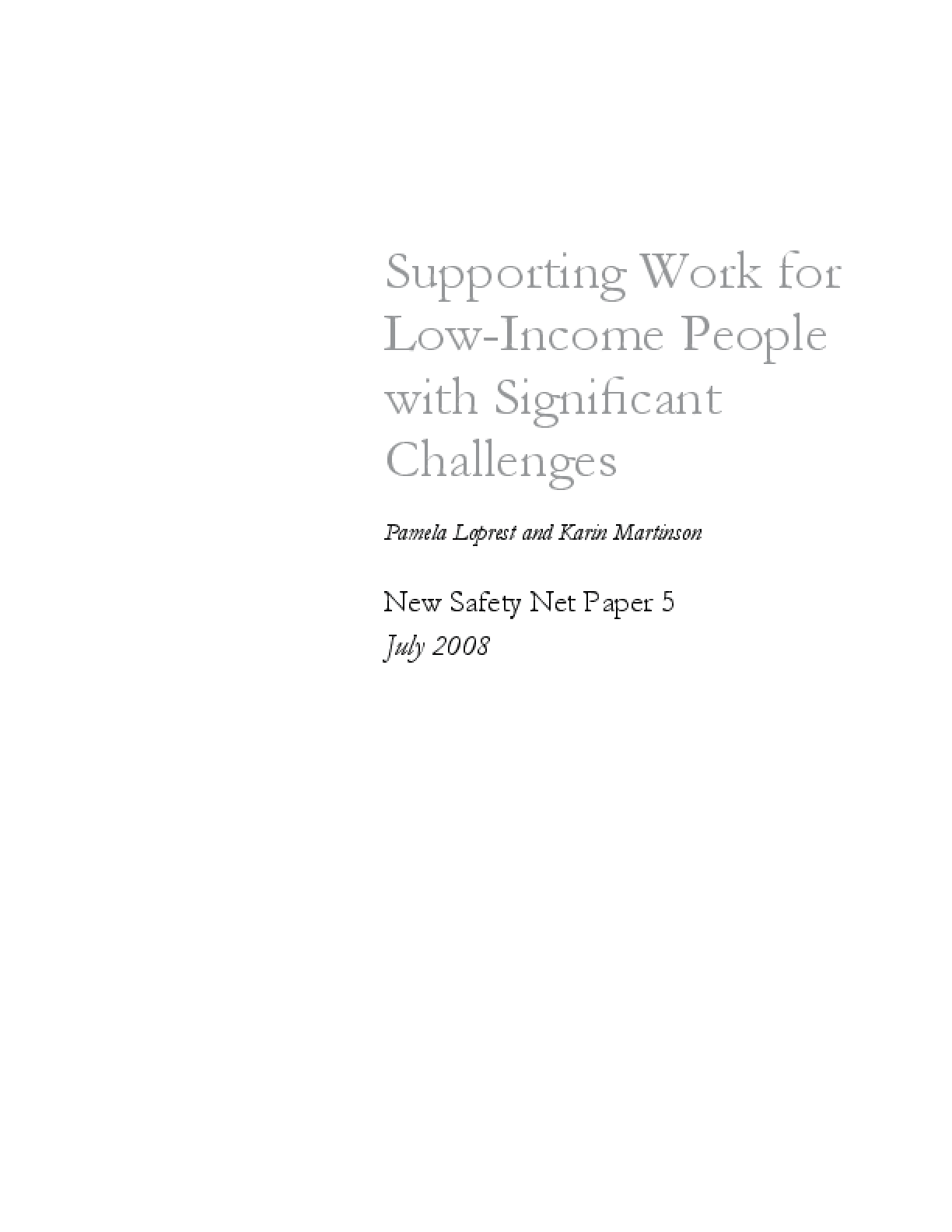 Supporting Work For Low-Income People With Significant Challenges