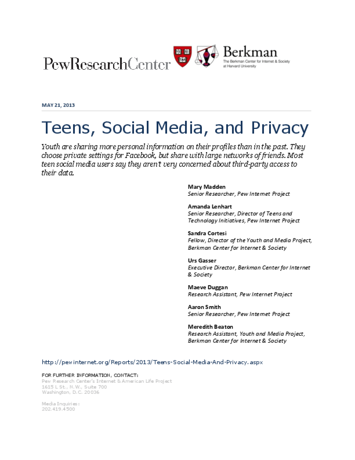 Teens, Social Media, and Privacy