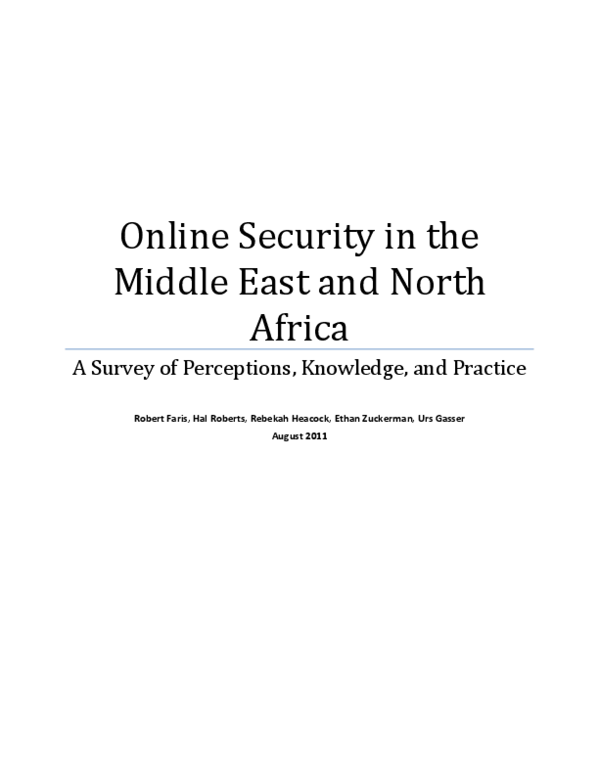 Online Security in the Middle East and North Africa: A Survey of Perceptions, Knowledge, and Practice