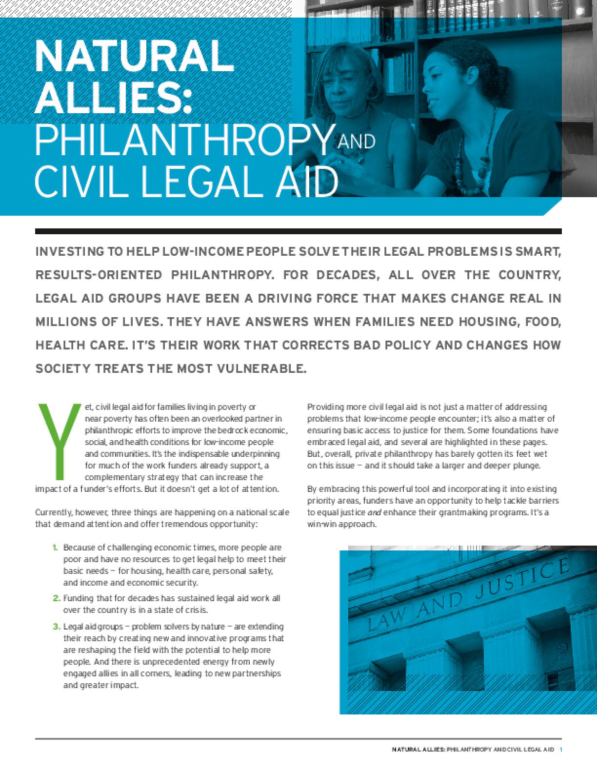 Natural Allies: Philanthropy and Civil Legal Aid