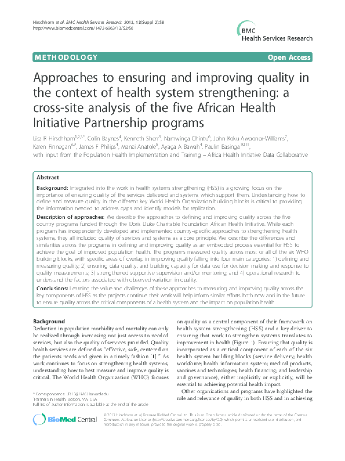 Approaches to Ensuring and Improving Quality in the Context of Health System Strengthening: a Cross-site Analysis of the five African Health Initiative Partnership Programs