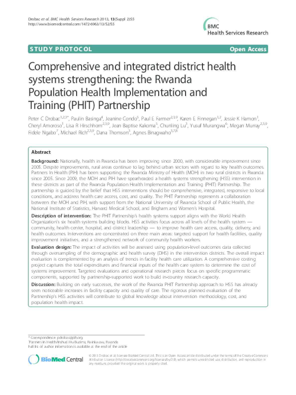 Comprehensive and Integrated District Health Systems Strengthening: the Rwanda Population Health Implementation and Training (PHIT) Partnership