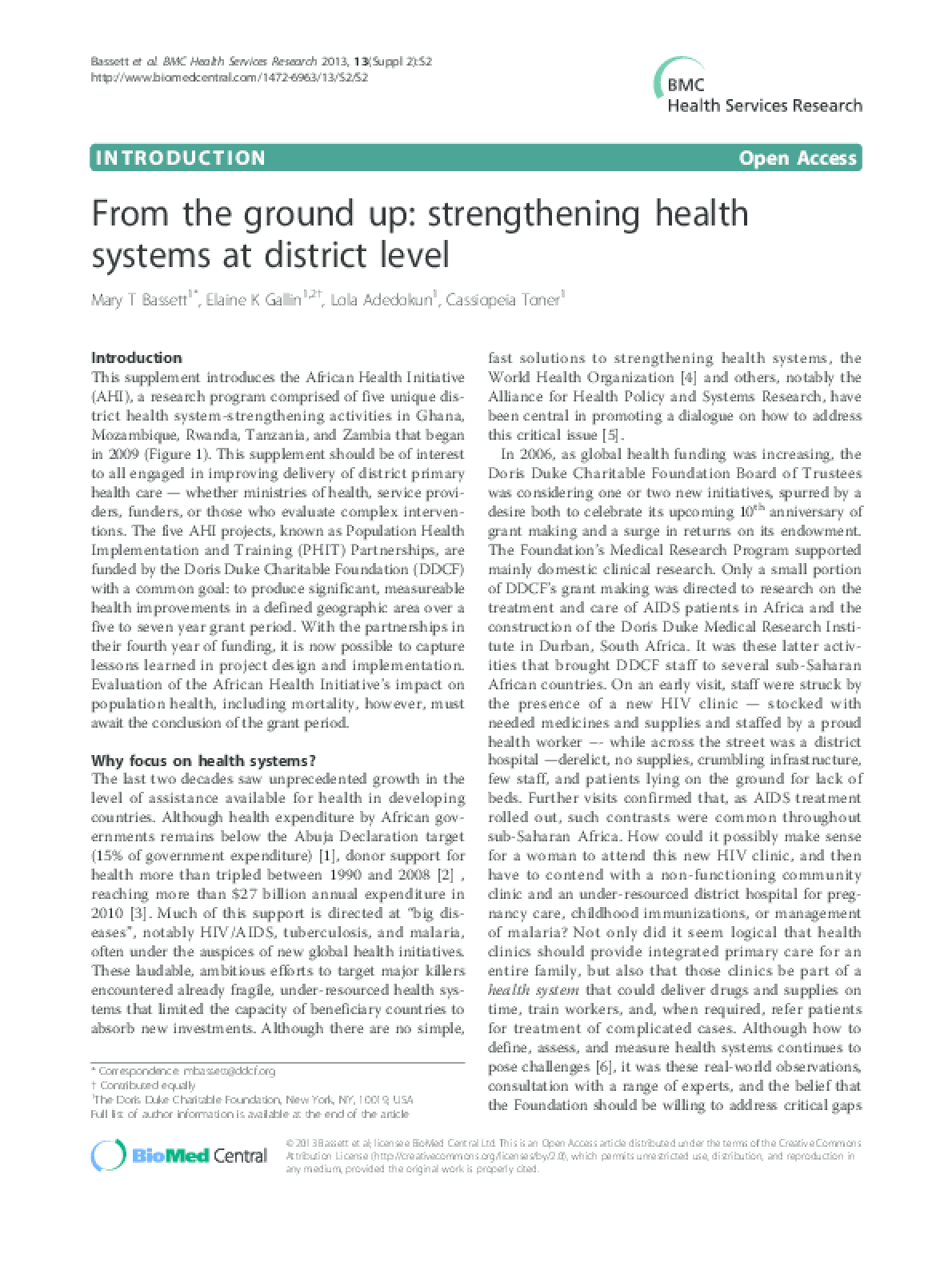 From the Ground Up: Strengthening Health Systems at District Level (Introduction)