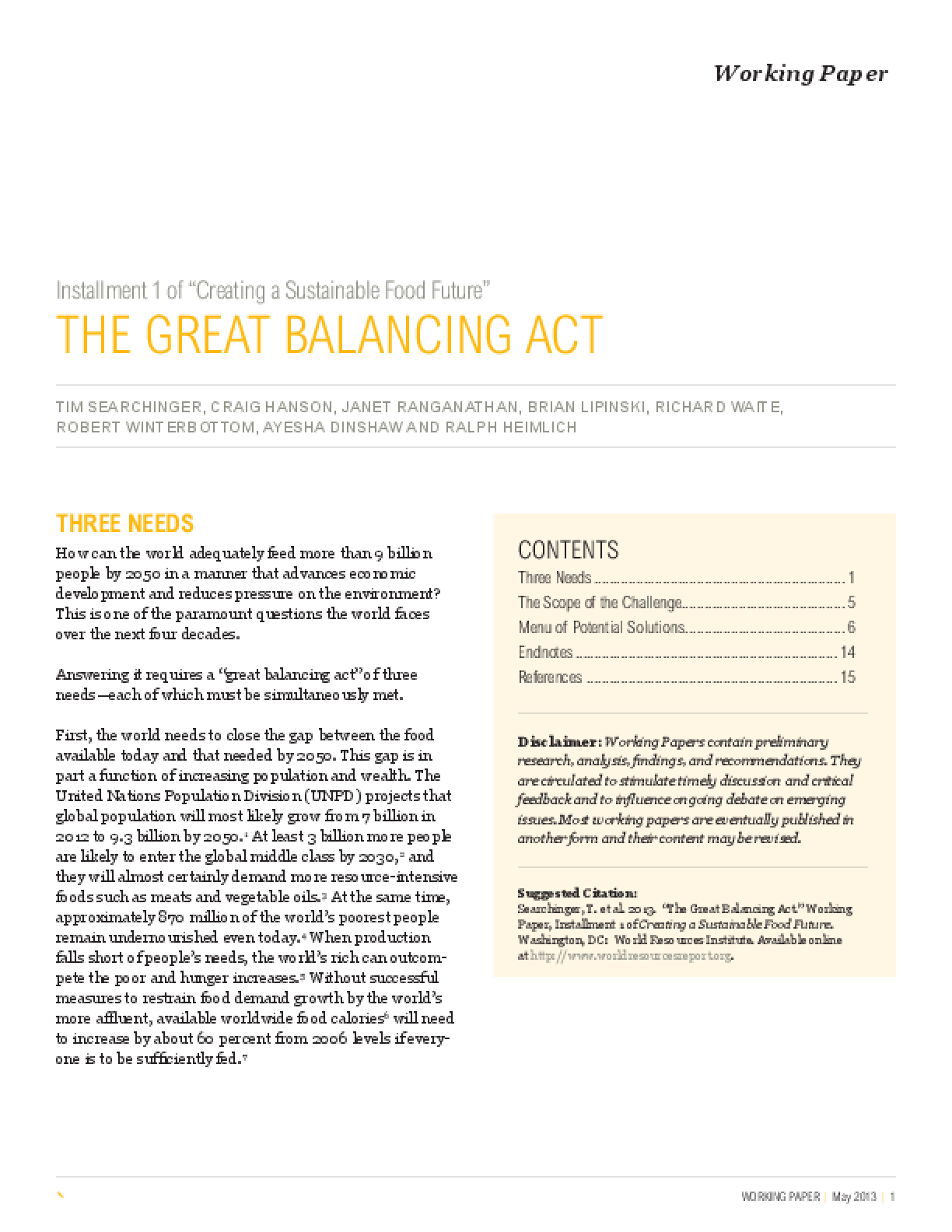 Installment 1 of Creating a Sustainable Food Future: The Great Balancing Act