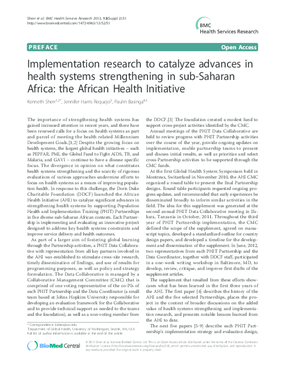 Implementation Research to Catalyze Advances in Health Systems Strengthening in sub-Saharan Africa: the African Health Initiative (Preface)