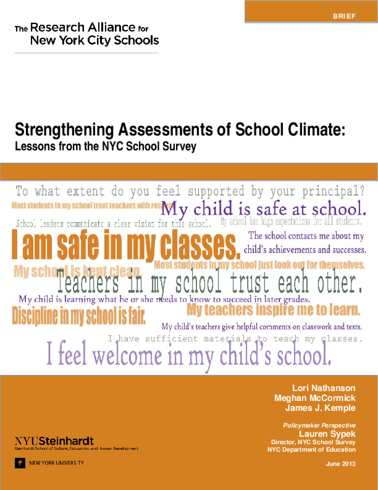 Strengthening Assessments of School Climate: Lessons from the NYC School Survey