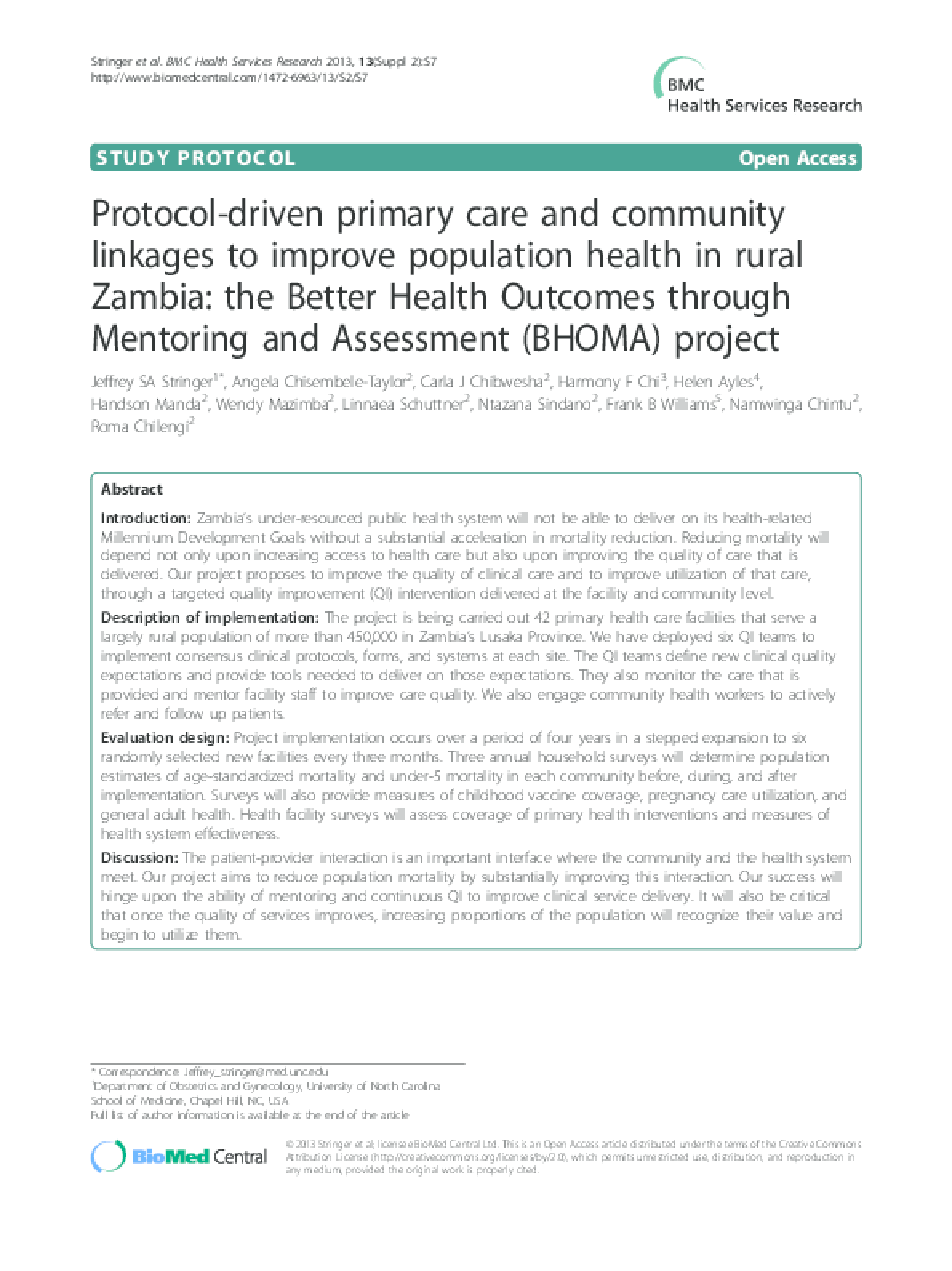 Protocol-Driven Primary Care and Community Linkages to Improve Population Health in Rural Zambia: the Better Health Outcomes through Mentoring and Assessment (BHOMA) Project