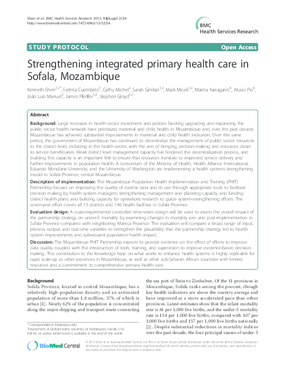 Strengthening Integrated Primary Health Care in Sofala, Mozambique
