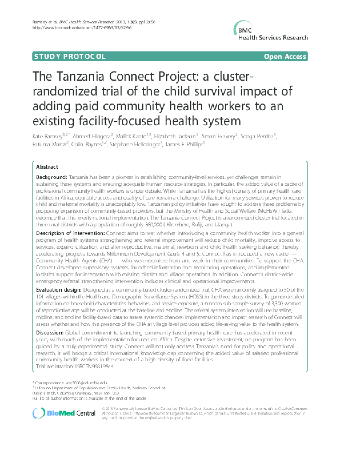 The Tanzania Connect Project: a Cluster-Randomized Trial of the Child Survival Impact of Adding Paid Community Health Workers to an Existing Facility-Focused Health System