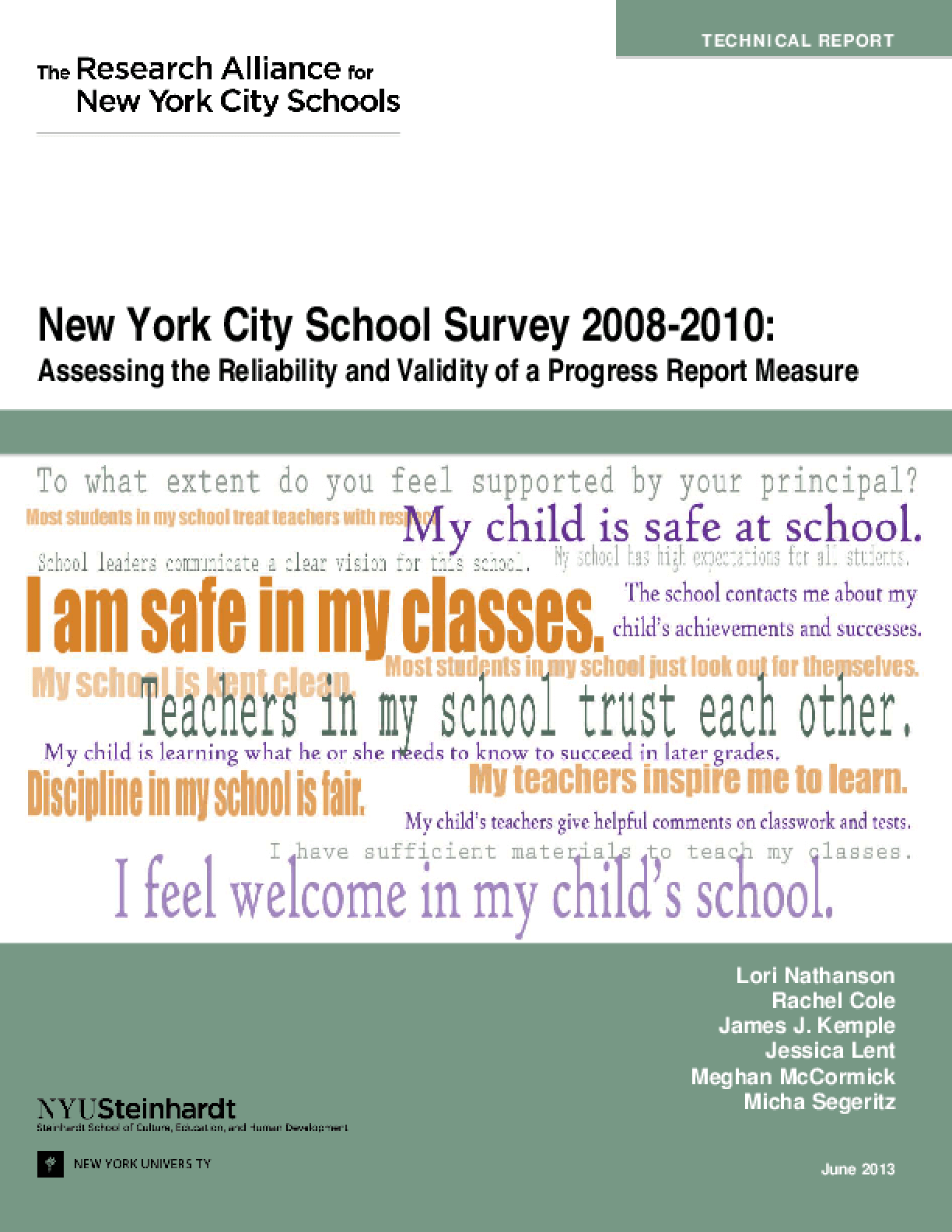 New York City School Survey 2008-2010: Assessing the Reliability and Validity of a Progress Report Measure