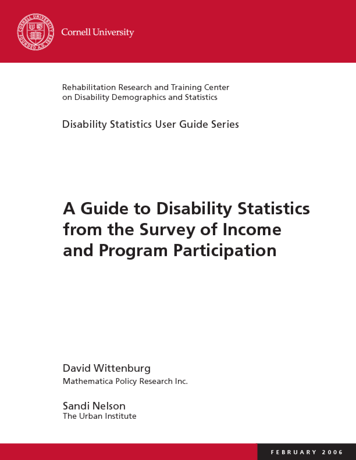 A Guide to Disability Statistics from the Survey of Income and Program Participation