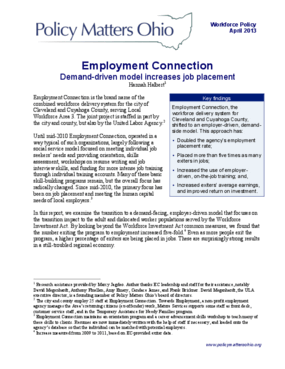 Employment Connection: Demand-Driven Model Increases Job Placement
