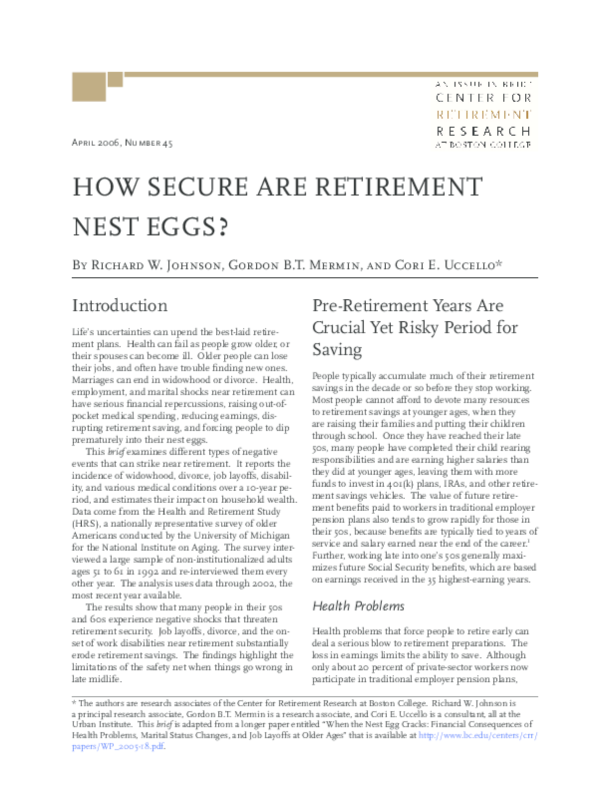 How Secure Are Retirement Nest Eggs?