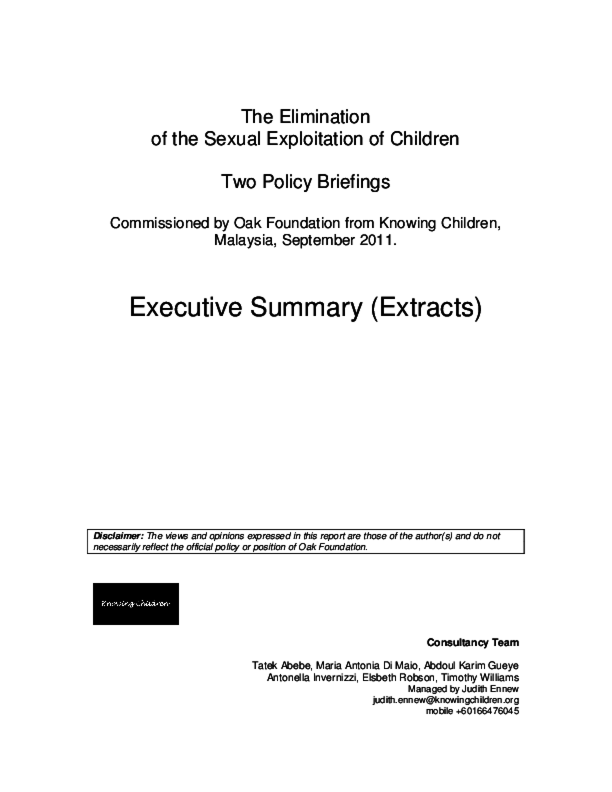The Elimination of the Sexual Exploitation of Children: Two Policy Briefings