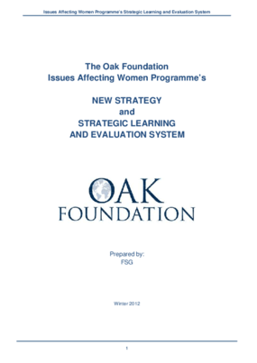 Issues Affecting Women Programme's New Strategy and Strategic Learning and Evaluation System