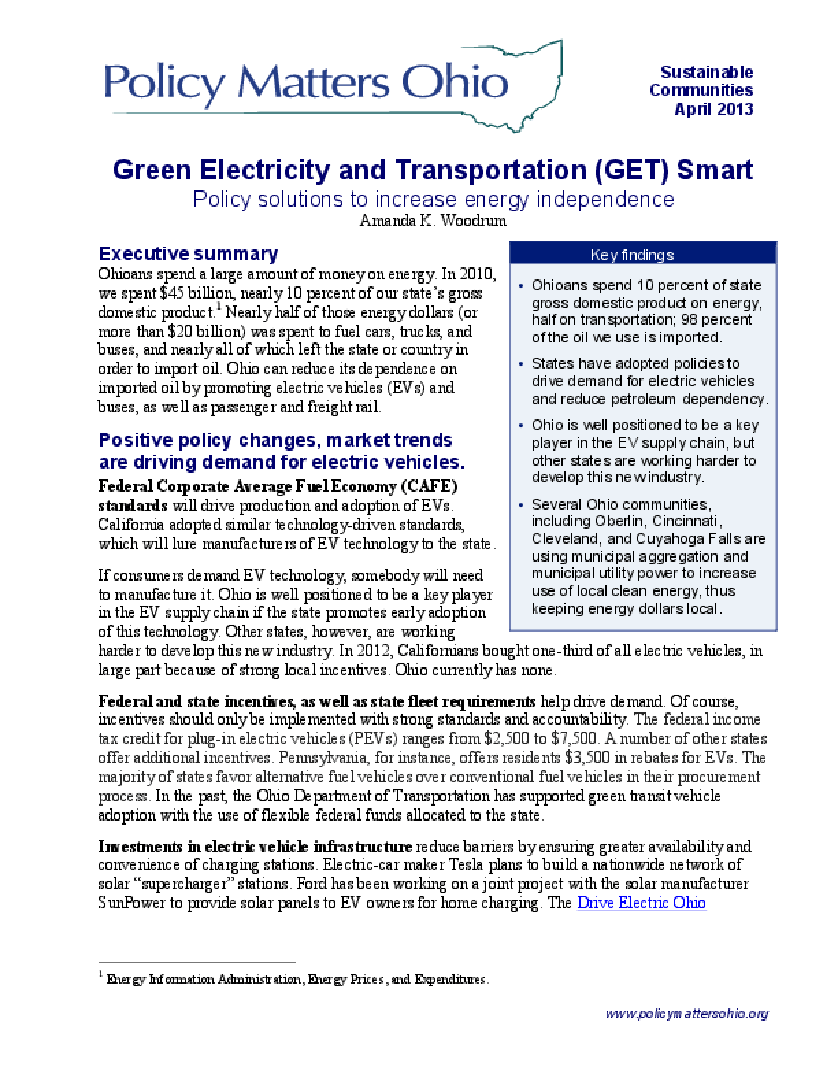 Green Electricity and Transportation (GET) Smart: Policy Solutions to Increase Energy Independence