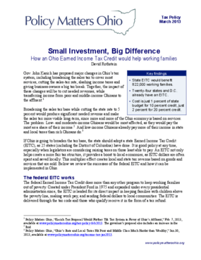 Small Investment, Big Difference: How an Ohio Earned Income Tax Credit Would Help Working Families