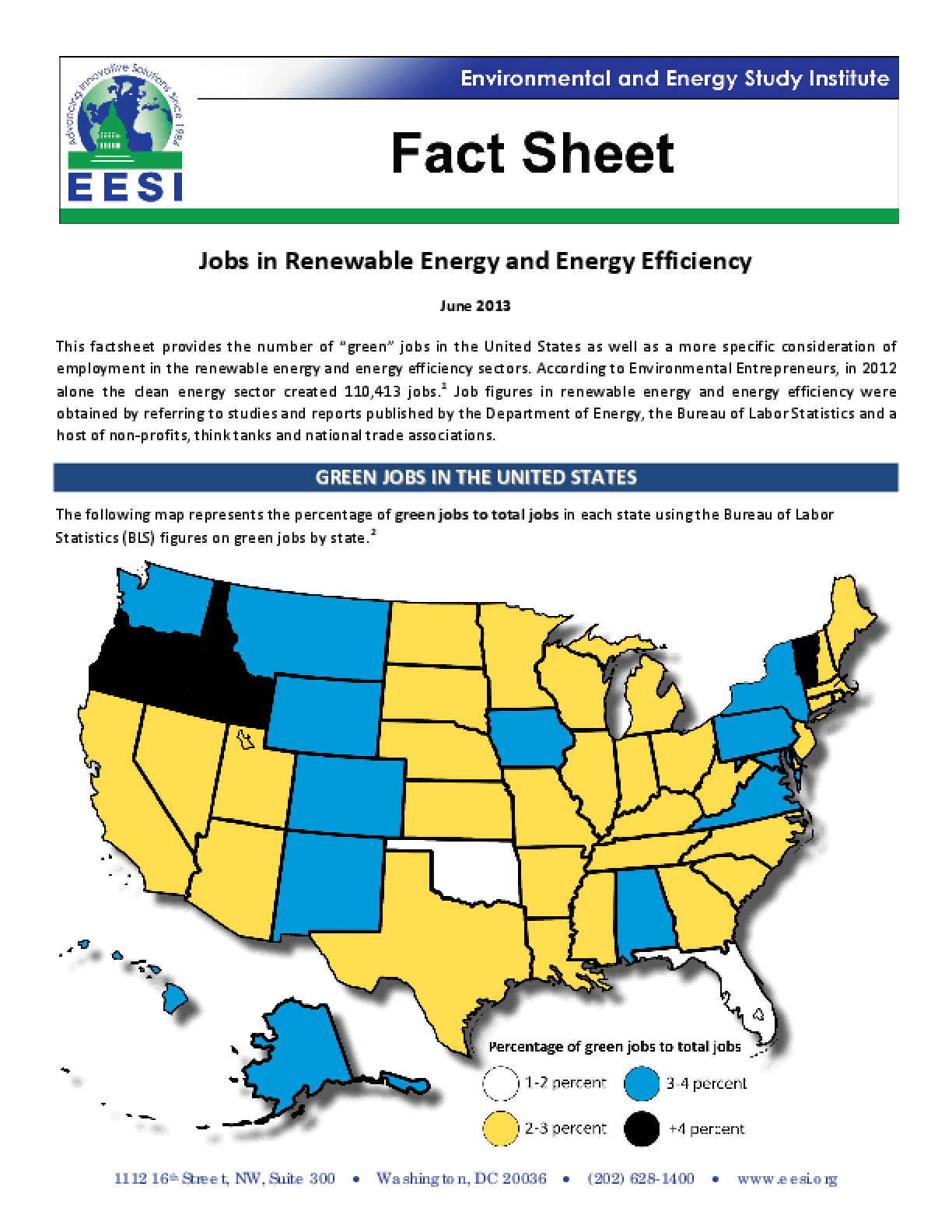 Fact Sheet: Jobs in Renewable Energy and Energy Efficiency