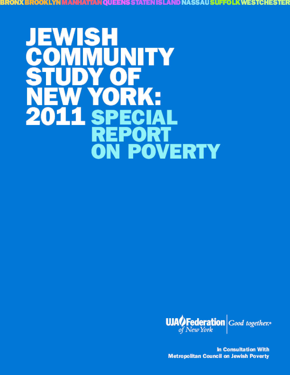 Jewish Community Study of New York: 2011 Special Report on Poverty