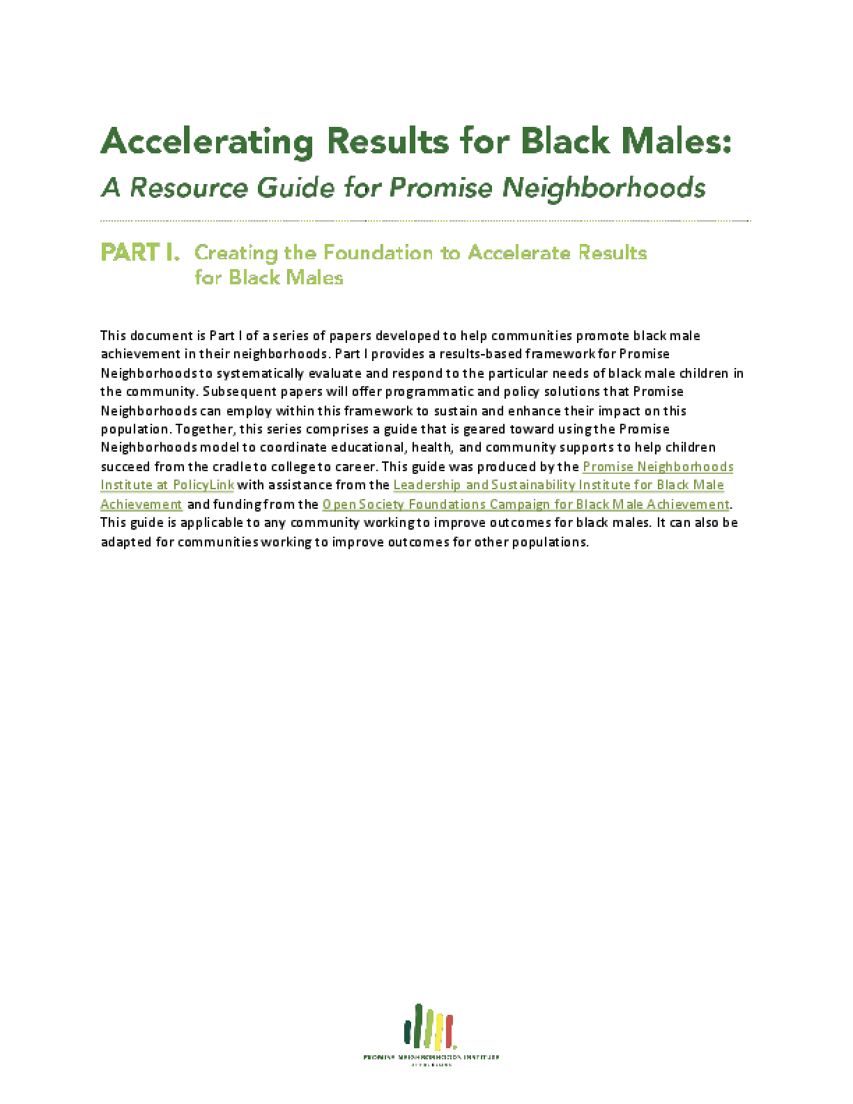 Accelerating Results for Black Males: A Resource Guide for Promise Neighborhoods