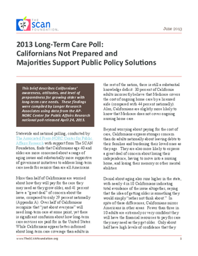 2013 Long-Term Care Poll: Californians Not Prepared and Majorities Support Public Policy Solutions