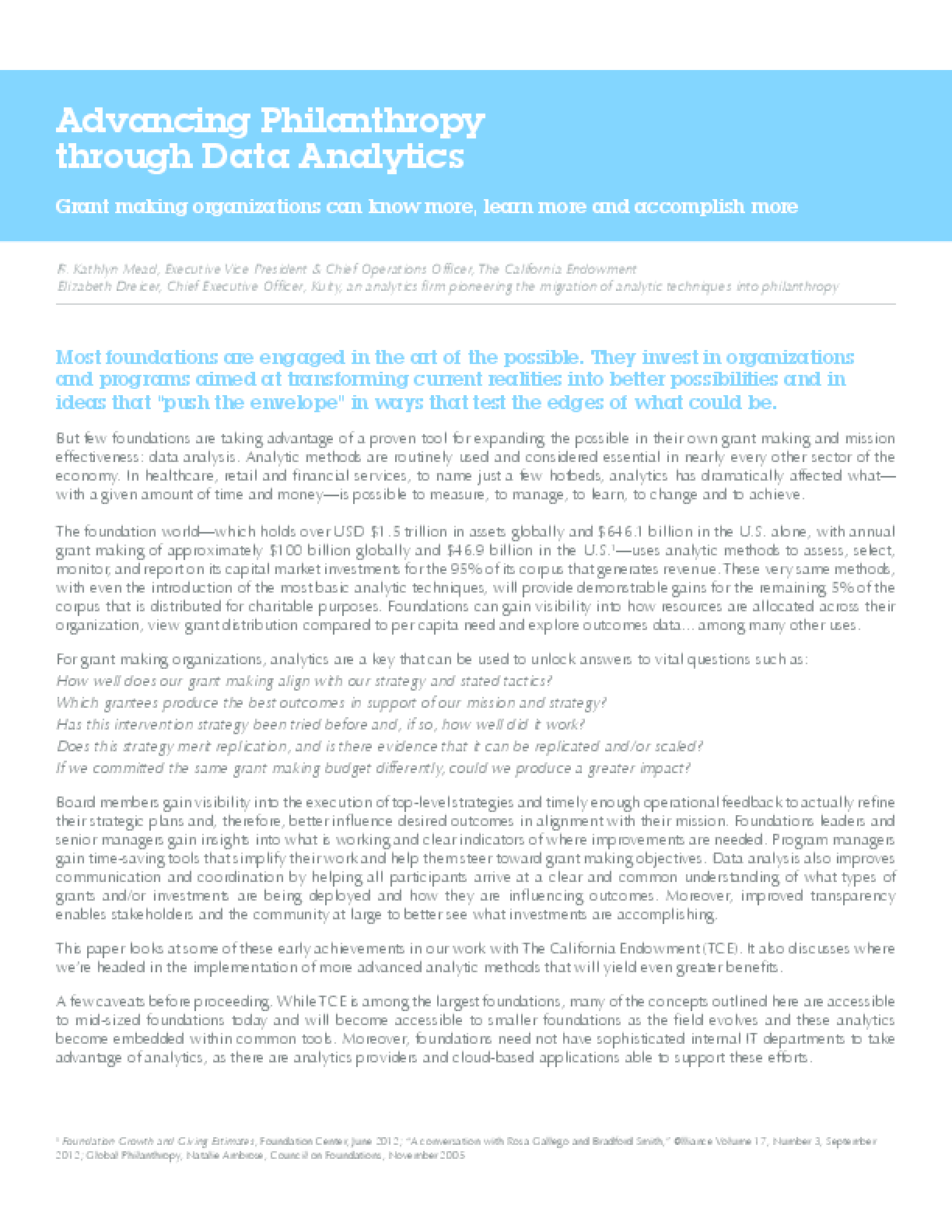 Advancing Philanthropy Through Data Analytics