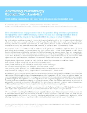 Advancing Philanthropy Through Data Analytics