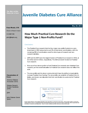 How Much Practical Cure Research Do the Major Type 1 Non-Profits Fund?