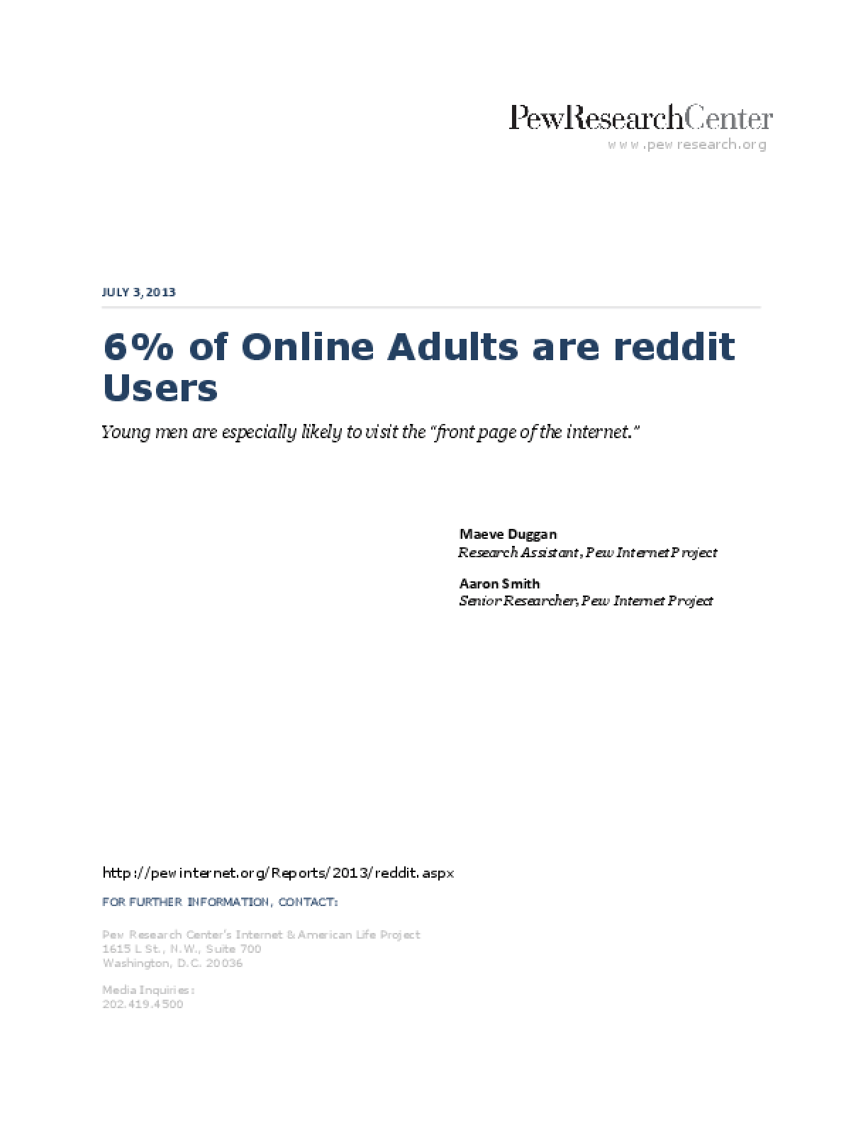 6% of Online Adults are reddit Users