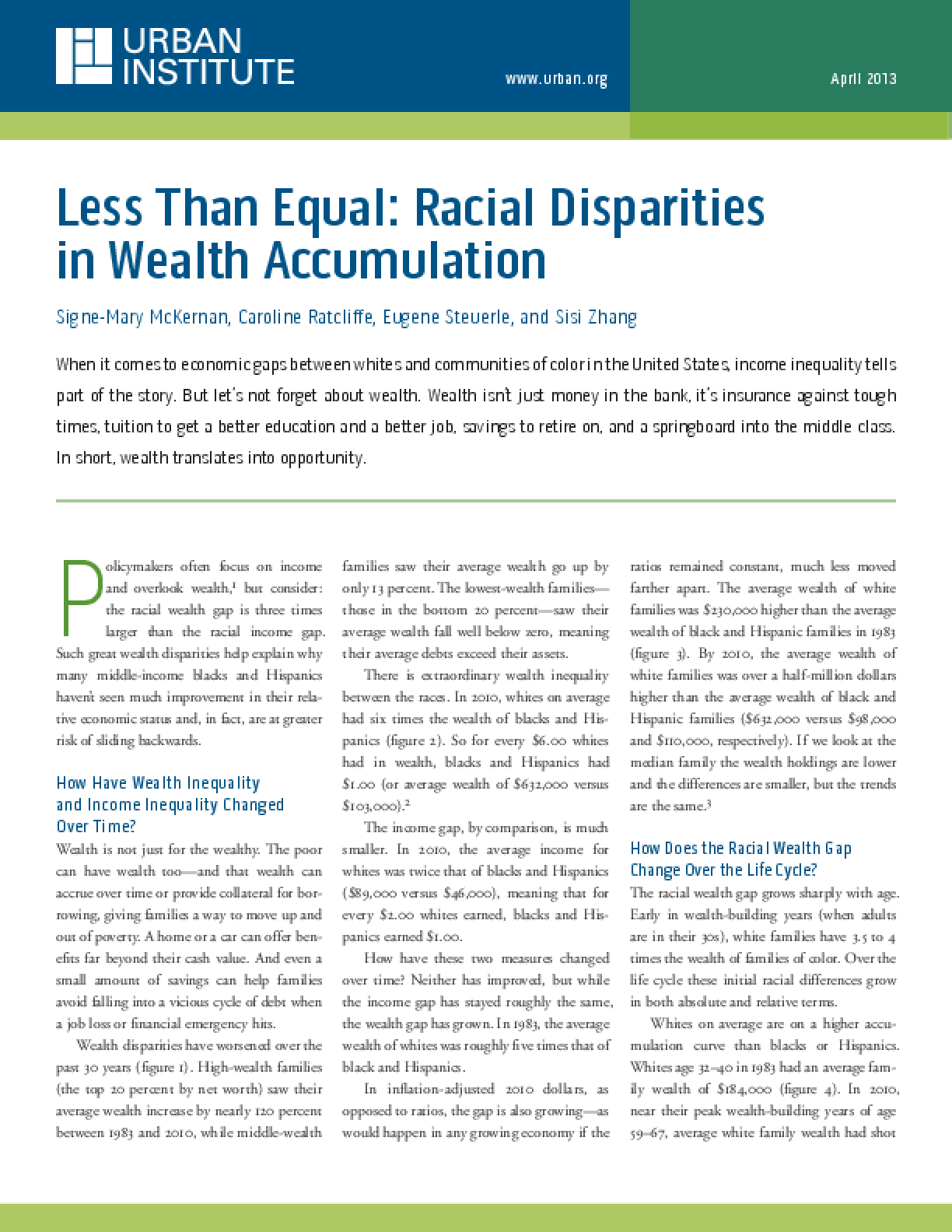 Less Than Equal: Racial Disparities in Wealth Accumulation