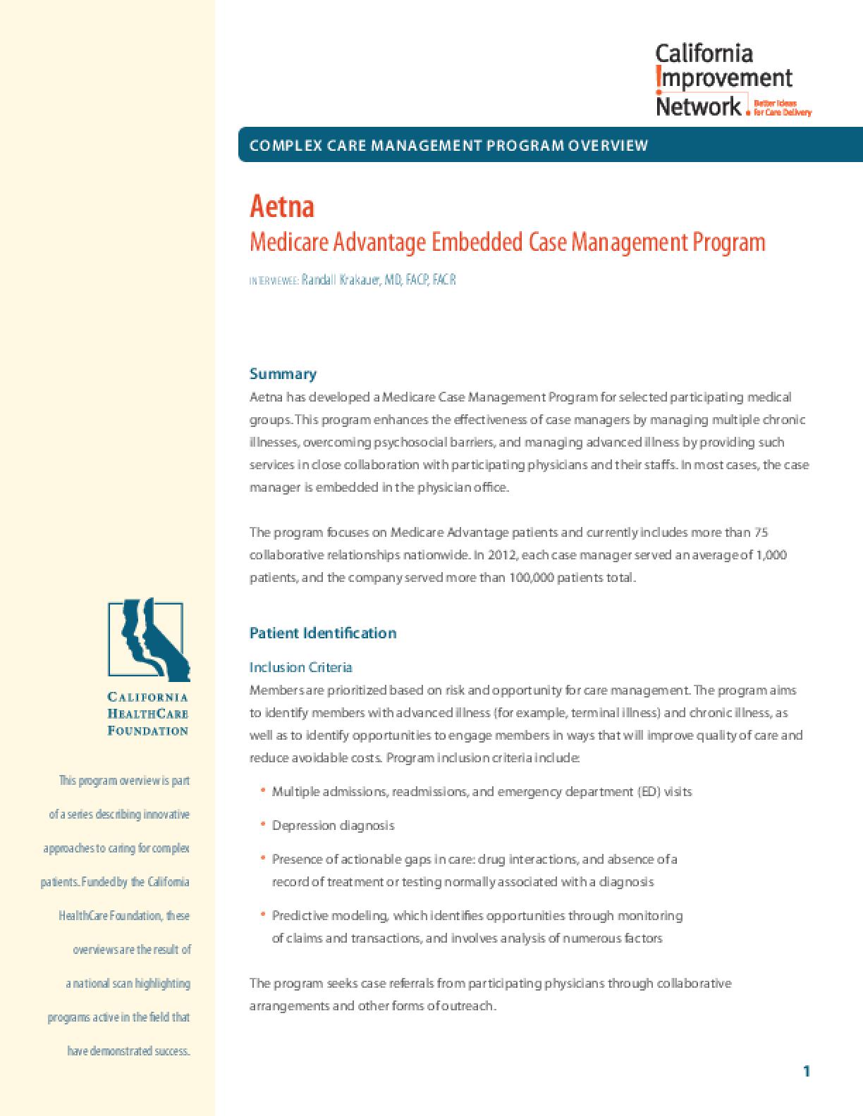 Complex Care Management Program Overview