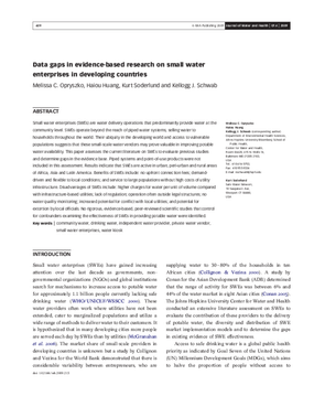 Data Gaps in Evidence-Based Research on Small Water Enterprises in Developing Countries